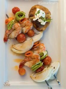 Grand Solmar Timeshare offers fresh-caught shrimp kebabs.